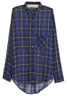 Royal Blue Long Sleeve Plaid Dipped Hem Chiffon Blouse CA$53.91