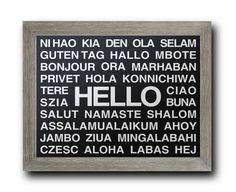 HELLO Languages POSTER PRINT Multiple Different by DandWElements, $10.00