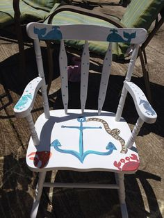 Refinished children's nautical rocking chair. Can be personalized with name upon purchase.  on Etsy, $75.00