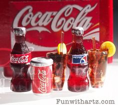 1/12 scale Dollhouse Miniature Coke or Pepsi Drink by FunWithARtz, $8.80