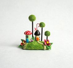 Miniature  Whimsy Fairy Houses amongst Trees OOAK by C. Rohal via Etsy