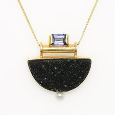 Dazzling Tanzanite, Black Onyx Druzy and Pearl Pendant in 14K Gold Fine Handmade Jewelry Sparkling Druzy and Tanzanite Art Deco Necklace by sasajewelry on Etsy https://www.etsy.com/listing/468249962/dazzling-tanzanite-black-onyx-druzy-and