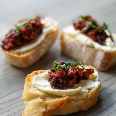 Sun-dried Tomato and Kalamata Olive Bruschetta Recipe Appetizers, Snacks with french bread, feta cheese crumbles, light cream cheese, garlic cloves, kalamata, sun-dried tomatoes, basil leaves