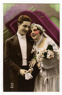 1920's French Deco WEDDING BRIDE marriage fashion tinted photo postcard
