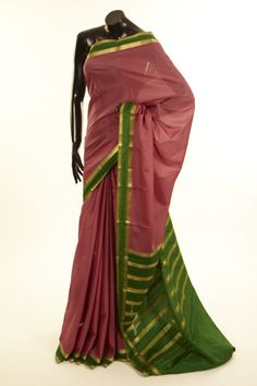 Mysore Crepe- crepe lavender pink saree with blouse