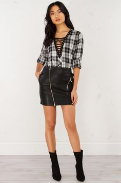 Lace Up Plaid Top in Black