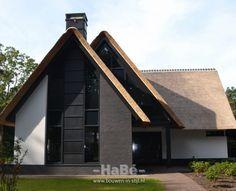 Nieuwbouw moderne villa met rietgedekte kap - voorzijde