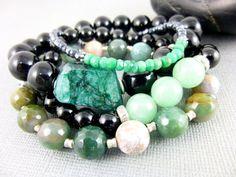 Emerald Nugget Statement Bracelet by EarthEnergyGemstones