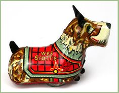 Sweet vintage tin, liltho Wee Scottie Dog, wind up toy.