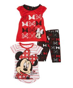 Love this Red & Black Minnie Mouse Three-Piece Tee & Pant Set - Infant by Disney Baby on #zulily! #zulilyfinds