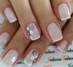 Lovely Simple Bright Nail Design 2019 - Page 12 of 21 - Dazhimen French Manicure Nails, French Tip Nails, Manicure And Pedicure, Summer French Nails, Bright Nail Designs, Nail Art Designs, Nagellack Design, Bride Nails, Flower Nails