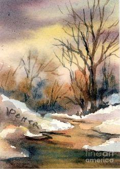 Winter Sky At Sunrise Painting   Virginia Potter