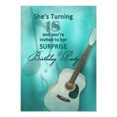 18th Surprise Birthday Party Invitation - Guitar
