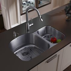 31 inch undermount 70 30 double bowl 18 gauge stainless steel kitchen sink with aylesbury stainless steel faucet two grids two strainers and soap     modern kitchen sink     kitchen sink and faucet   modern   kitchen      rh   pinterest com