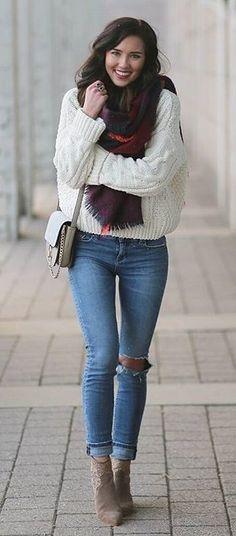 #winter #fashion /  White Knit + Burgundy Scarf + Destroyed Skinny Jeans