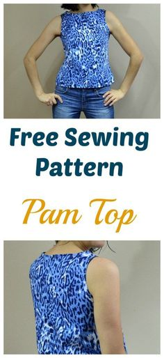 Sewing Top - Free Sewing Pattern: Pam Top: Learn how to make an easy woven top with a free diy sewing pattern and easy sewing tutorial. Sewing Patterns Free, Free Sewing, Clothing Patterns, Hand Sewing, Dress Patterns, Vogue Patterns, Coat Patterns, Vintage Patterns, Blouse Sewing Pattern