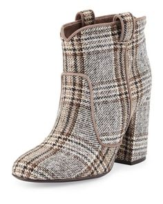 Pete Tartan Plaid Western Ankle Boot