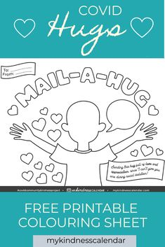 With this free printable coloring sheet and card, kids can send a hug in the mail to someone they are missing during Covid-19! A great activity for kids during home-schooling and at home learning to promote kindness, gratitude and social emotional learning. Sign up for this free printable and other weekly activities to spread kindness during Covid-19. #kidsactivities #kidscrafts #coloringpages #freeprintable #homeschool #socialemotionallearning