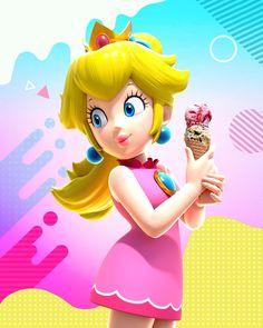 Super Mario Princess, Nintendo Princess, Princess Peach Party, Princesa Peach, Adventure Games, Mario Party, Ice Cream Flavors, Video Game Characters, Super Mario Bros