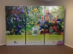 Retractable banner stands can be used individually or together to create one large image.