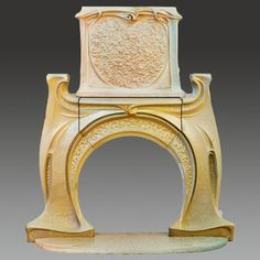 Hector Guimard - Monumental Art Nouveau Fireplace and Chimney Piece. Find this and other ceramics at CuratorsEye.com.