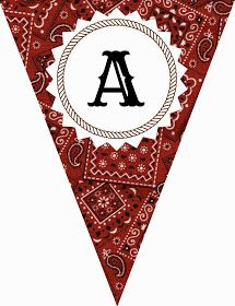 FREE Printable Western-Themed Pennant Banner (includes all letters and numbers) . FREE Printable W Cowboy Theme Party, Cowboy Birthday Party, Farm Birthday, Farm Party, Pirate Party, Rodeo Party, Birthday Ideas, Horse Party, Birthday Supplies