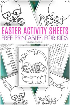 easter activity sheets for kids, ten pages of free printables perfect for Easter crafts and activities with lots of colouring pages plus wordsearch and wordscramble Activity Sheets For Kids, Easter Activities For Kids, Easter Crafts For Kids, Toddler Crafts, Preschool Activities, Easter Art, Language Activities, Camping Activities, Easter Ideas