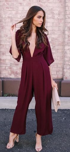 #fall #outfits women's maroon plunging neckline jumpsuit