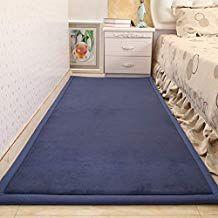 """HIGOGOGO Bedside Rug, Tatami Style Protection Pad Safety Mat Runner Rug for Bedroom Living Room Non-Slip Foam Floor Mat Prevention Fall Risk Pad for Baby Kids Infant Elderly Senior, Navy Blue, 79""""x32"""""""