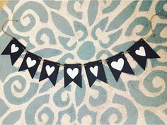 Black and White Heart Garland by HandcraftedBrunette on Etsy