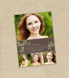 Floral Four Photo Graduation Announcement or Party Invitation - Printable. $15.00, via Etsy.