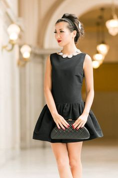 Little Black Dress :: Flare Dress & Modern Pearls