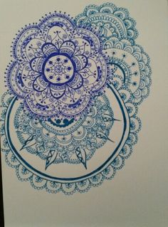 Mandala zentangles in 2 shades of blue by Marieke Raterman. To purchase a print or a smartphone case with this print, visit Monnicken Werken at Facebook : https://m.facebook.com/profile.php?id=878872252171950