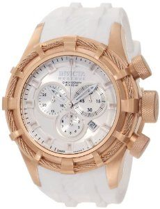 Invicta Men's 11819 Bolt Reserve Chronograph Silver tone Dial White Silicone Watch Invicta. $568.50. Flame-fusion crystal; 18k rose gold ion-plated stainless steel case; white silicone strap. Swiss quartz movement. Chronograph functions with 60 second, 30 minute and 1/10th of a second subdials with silver tone hands; date window between 4:00 and 5:00. Silver tone dial with silver tone and white hands and white hour markers; luminous; 18k rose gold ion-plated stainless...