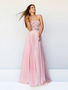 A-Line/Princess Sleeveless Ruffles Strapless Sweep/Brush Train Chiffon Dresses