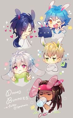 DRAMAtical Murder < Noiz doesn't look so happy to be wearing bunny ears but deep down inside he's smiling XD Anime Chibi, Kawaii Anime, Manga Anime, Anime Art, I Love Anime, Anime Guys, Overwatch, Neko, Kamigami No Asobi