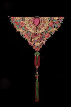 "Lady's Festival Collar, China, Silk embroidery, Qing Dynasty (late 19th/early 20th century) H: 38"" x W: 25"""
