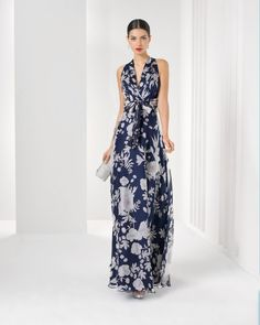 Rosa Clara - Long print silk chiffon dress and shawl
