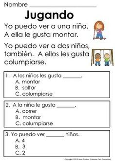 Spanish Reading Comprehension Pages For Beginning Readers Ideal Esl