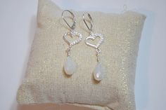 $62 Bridal Pearl Chalcedony Briolette Heart with Cz Sterling Silver Lever Back Handmade Dangle Earrings