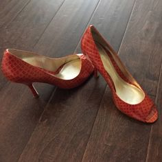 Enzo Angiolini Animal Print Embossed Heels Bright coral-red colored heels by Enzo Angiolini. Fresh update for warmer weather! Worn only once, minor scratches on bottoms. Peep toe style. Comfy for heels! Enzo Angiolini Shoes Heels