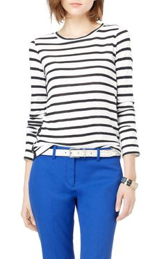 Striped Theory top, cobalt jeans