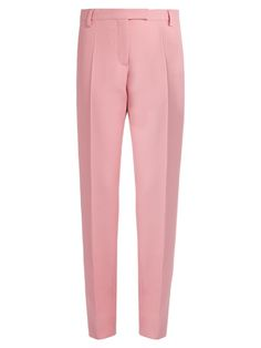 VALENTINO High-rise straight-leg crepe trousers. #valentino #cloth #trousers