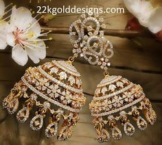 Traditional and designer diamond jhumkas/buttalu from VBJ. Diamond Earrings Indian, Gold Jhumka Earrings, Diamond Necklace Set, Diamond Earing, Jewelry Design Earrings, Gold Earrings Designs, Diamond Bangle, Diamond Jewelry, Gold Jewelry