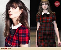 Zooey Deschanel's red plaid dress in Marie Clair September Issue.  Outfit Details: http://wwzdw.com/z/4291/