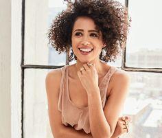Nathalie Emmanuel wears Beladora rings in her Byrdie Exclusive.