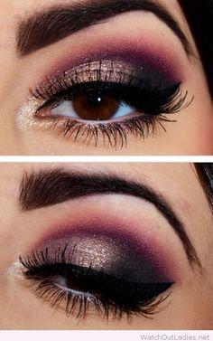Christmas eye makeup with burgundy