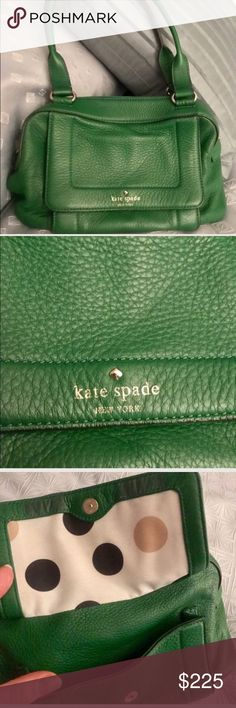 Kelly Green Kate Spade Pebbled Leather Purse Kelly Green Kate Spade Pebbled Leather Purse. GORGEOUS GORGEOUS GORGEOUS!!!! This satchel is the prettiest kelly green in the SOFTEST pebbled leather.  Such a fantastic combination!  Add to that the fun polka dot lining and you can't miss with this bag! Great gold spade detail on the inside zip pocket. Great storage space too! Perfect size: not too big or small. The lining shows a bit of dirt but nothing too bad. Small scratch on side, as…