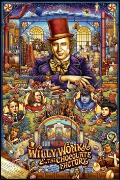 Willy Wonka & the Chocolate Factory by Ise Ananphada - Home of the Alternative Movie Poster -AMP- Willy Wonka, Movie Poster Art, Film Posters, Gene Wilder Movies, Comic Collage, Wonka Chocolate Factory, Movie Synopsis, Alternative Movie Posters, Anime Kunst