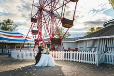 Lovely sunset at this midway wedding photo at Heritage Park! Loved this fun, geeky wedding! By Calgary wedding photographer Anna Michalska Photography. Calgary Wedding Venues, Outdoor Wedding Venues, Wedding Portraits, Wedding Photos, Nontraditional Wedding, Park Weddings, Wedding Photography, Bride, Ferris Wheel